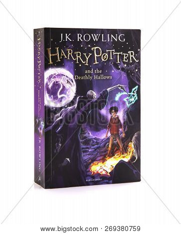 Swindon, Uk - November 18, 2018: Harry Potter And The Deathly Hallows Paperback Edition On A White B
