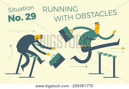 Business Infographics With Illustrations Of Business Situations. Businessman Running And Jumping Ove