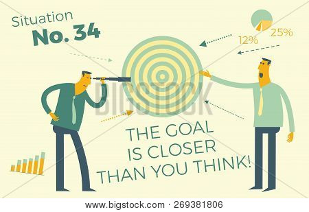 Business Infographics With Business Situations, Goal Achievement, Career, Profession. Target Audienc