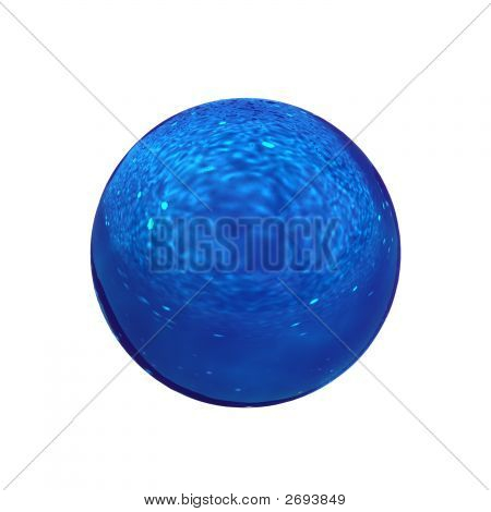 3d rendering of a blue glass sphere over white background isolated poster
