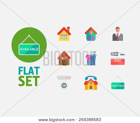 Real Estate Icons Set. Home And Real Estate Icons With Surveillance Service, Agent And Tenant. Set O