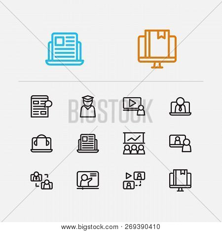 Online Education Icons Set. Education E-learning And Online Education Icons With Video Interview, Co