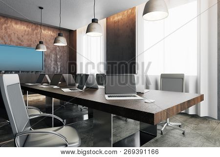 Contemporary Concrete Office Interior With Panoramic City View, Equipment And Daylight. Coworking Wo