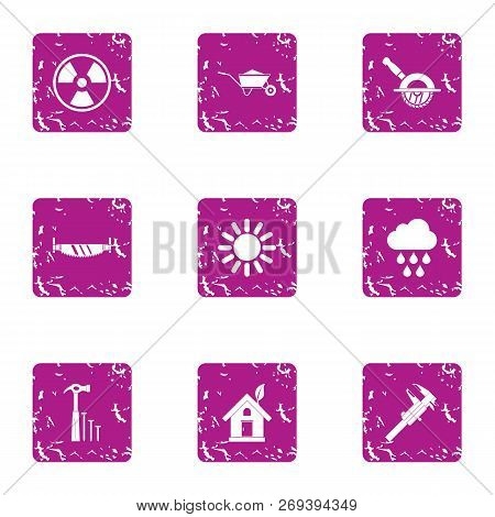 Absolute Energy Icons Set. Grunge Set Of 9 Absolute Energy Icons For Web Isolated On White Backgroun