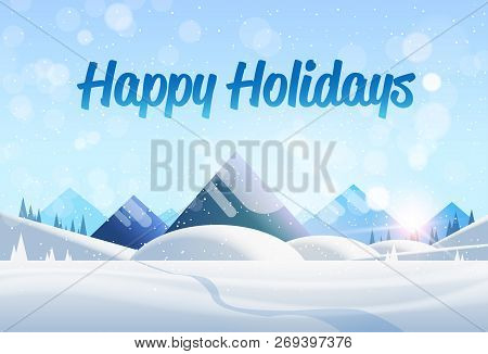 Winter Mountain Forest Landscape Background Pine Snow Trees Woods Flat Horizontal
