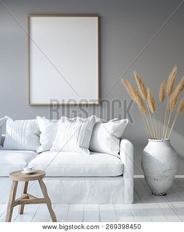 Mock Up Poster Frame In Home Interior Background, Bohemian Style Living Room, 3d Illustration