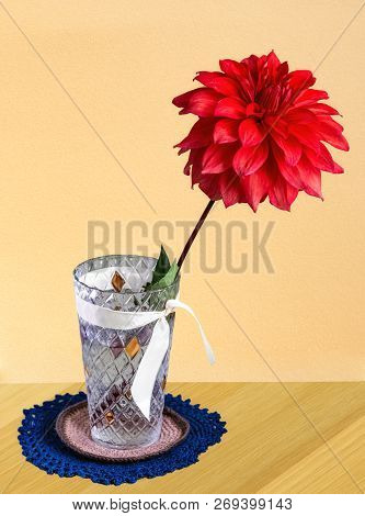 Red Chrysanthemum Flower In A Crystal Vase, Tied With A White Ribbon, Standing On The Table On A Rou