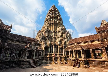Main Tower Of Angkor Wat Temple In Siem Reap In Cambodia. Angkor Wat Is The Largest Religious Monume
