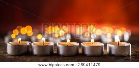 Many Candles Symolizing Funeral Religios Christmas Spa Celebration Birthday Spirituality Peace Memor