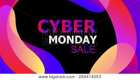 Cyber Monday Concept Banner In Trendy Abstract Fluid Neon Style, Luminous Nightly Gradients Liquid O