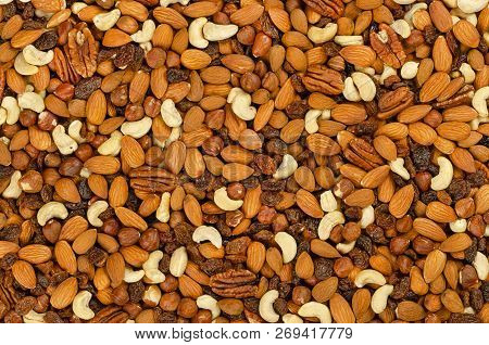 Nuts And Raisins, Surface And Background. Snack Mix Of Dried Almonds, Cashews, Hazelnuts, Pecans And