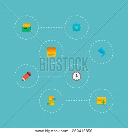 Set Of Task Manager Icons Flat Style Symbols With Time, Add Task, Pencil And Other Icons For Your We