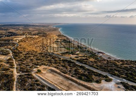 View Of The Stadium Of Kourion And Surroundings. Episkopi, Limassol District, Cyprus.