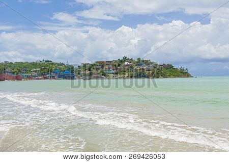 Coastline At Port Of Naguabo Puerto Rico  And Scenery Along Malecon
