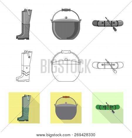 Isolated Object Of Fish And Fishing Logo. Set Of Fish And Equipment Stock Vector Illustration.