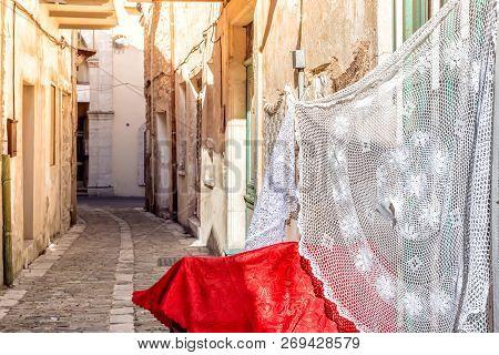 Quiet Village Street Of Pano Lefkara. Larnaca District, Cyprus.