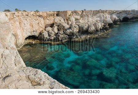 View Of The Cliffs And Seashore From The Bridge Of Lovers Near Ayia Napa, Cyprus.