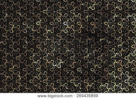 Vector Gold Seamless Pattern, Floral Texture. Original Floral Pattern On Black Background. Trendy Go