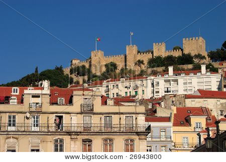Lisbon Portugal St George's Castle from downtown