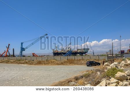 Limassol, Cyprus - June 23, 2018: Castoro Sei, A Semi-submersible Pipe Laying Vessel Docked In Limas