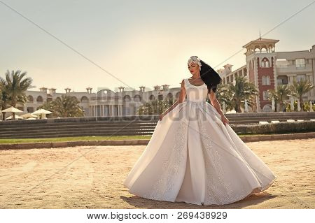 Woman In White Dress. Bride And Wedding Ceremony. Elegance And Fashion Model. Wedding Fashion And Be