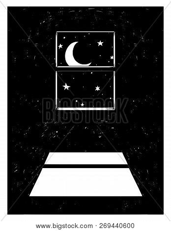 Cartoon Drawing Conceptual Illustration Of Crescent Or Hornet Moon Shining Through Window On The Roo