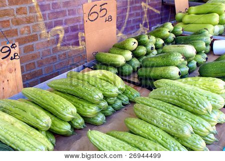 Chinese vegetable stand - bitter and fuzzy melons