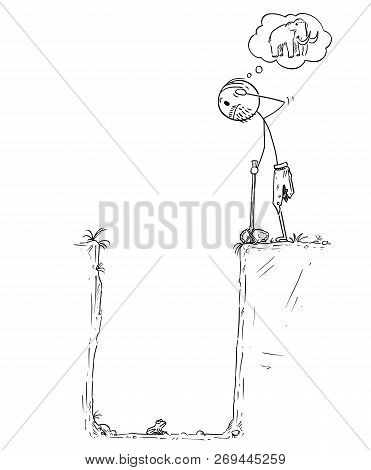 Cartoon Stick Drawing Conceptual Illustration Of Prehistoric Man Or Caveman Who Catch Small Frog In