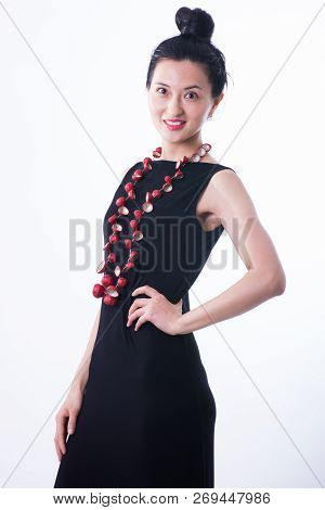 Beautiful Asian Woman Portrait Isolated Looking At Camera