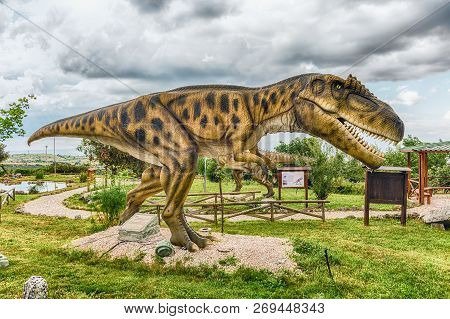 San Marco In Lamis, Italy - June 9: Carcharodontosaurus Dinosaur, Featured In The Dino Park In San M
