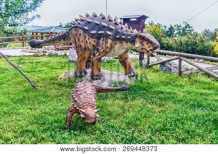 San Marco In Lamis, Italy - June 9: Ankylosaurus Dinosaur, Featured In The Dino Park In San Marco In