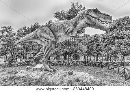 San Marco In Lamis, Italy - June 9: Tyrannosaurus Rex Dinosaur, Aka T-rex, Featured In The Dino Park