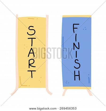 Vector Illustration Of Start And Finish Line Banners, Streamers, Flags For Outdoor Sport Event - Com
