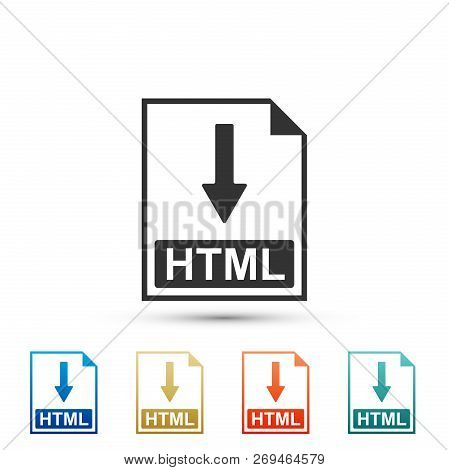 Html File Document Icon. Download Html Button Icon Isolated On White Background. Set Elements In Col