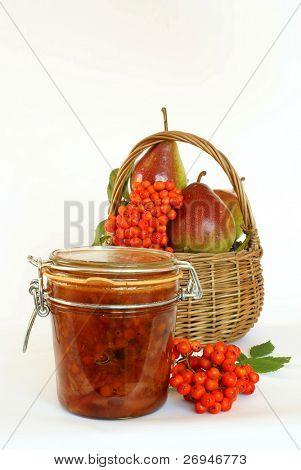 Homemade organic rowanberries and pears jam