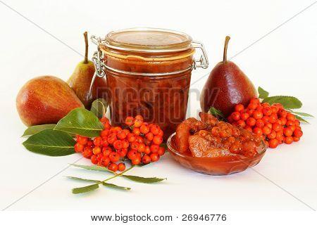 Homemade organic rowan berries and pears jam
