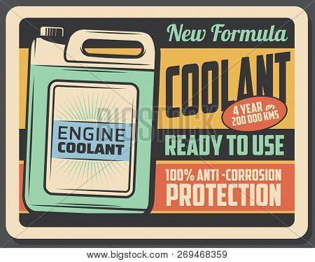 Car Engine Coolant Product In Plastic Container, Vector Retro Poster. Emulsion In Liquid Form, Garag