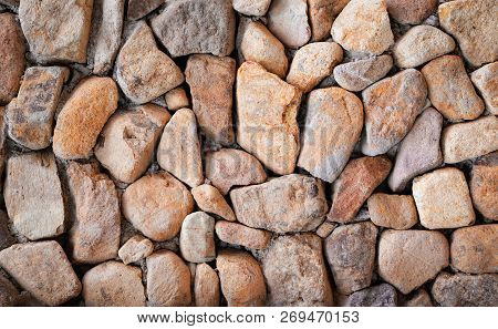 Stone Texture / Beautiful Stone Wall Background / Brown Pattern Stone Wall Vintage Style Color - Nat
