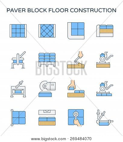 Paver Block Floor And Construction Work Icon Set, Editable Stroke.