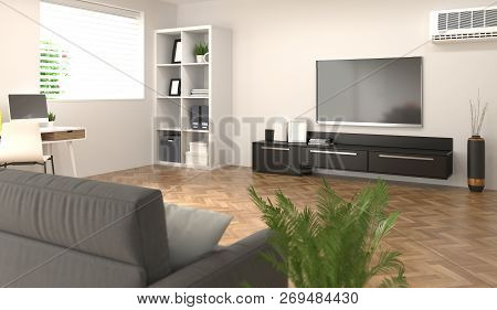 Smart Home,room, Sofa,tv,notebook,desk In Front Of The White Brick Wall Living Room Lounge Model Hom