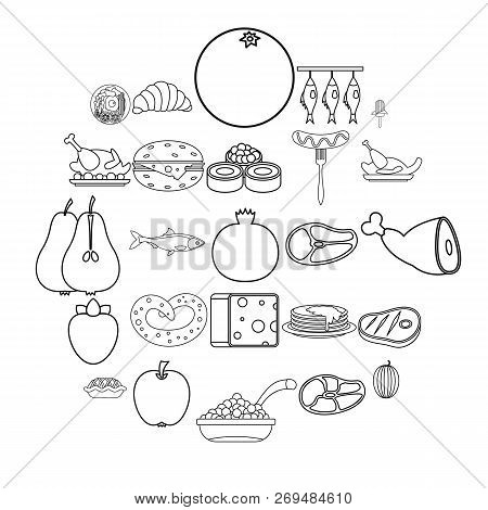 Gastronomic Hobby Icons Set. Outline Set Of 25 Gastronomic Hobby Vector Icons For Web Isolated On Wh