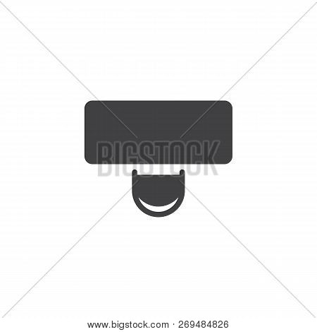 Desk And Chair Top View Vector Icon. Filled Flat Sign For Mobile Concept And Web Design. Workspace I