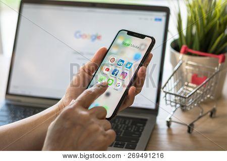 Bangkok, Thailand- November 19, 2018: Social Media App Multi-channel Icons On Iphone X Touchscreen M