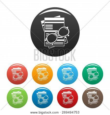 Paycheck Paper Icons Set 9 Color Vector Isolated On White For Any Design