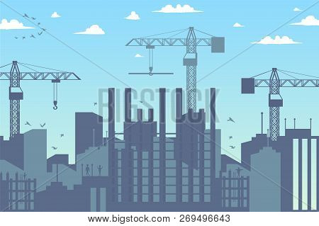 Concept Modern City Construction Buildings. Vector Illustration Cartoon Panorama Construction A New