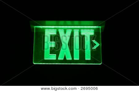 Neon Green Exit Sign set on black poster