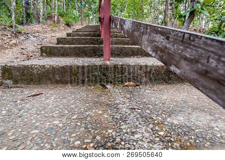 Concrete Stairway To The Top Of Mountain In The Forest, Traveling In Thailand