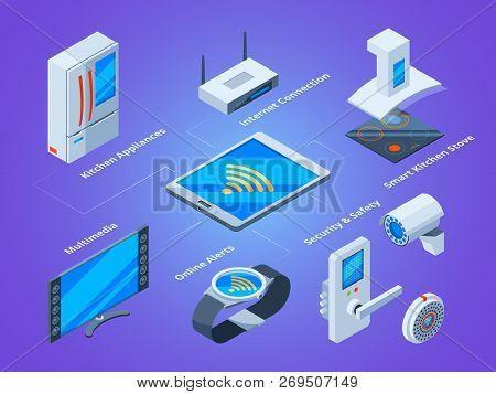 Smart Households Connection. Kitchen Tools Tv Set Microwave Multimedia Home Connecting To Smartphone