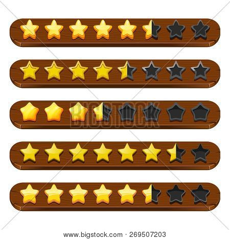 Stars and ribbons gui. Mobile game status bar symbols and colored menu vector items. Illustration of gold star achievement, badge starry poster