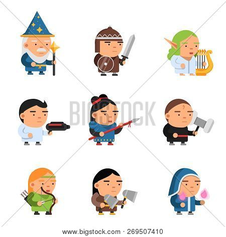 Fantasy characters. 2d game sprite male and female heroes computer soldiers rpg shooter mascots soldiers knights wizards vector. Illustration of soldier and knight, character 2d warrior poster